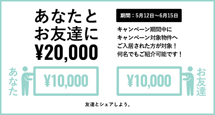 お友達紹介で2万円が当たる!