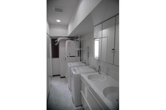 洗面スペースには、広々としたツーボールの洗面台