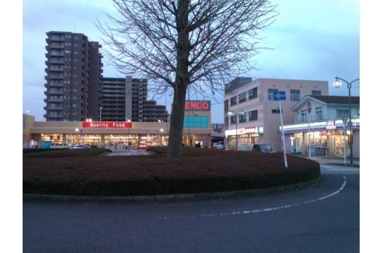 駅前には、スーパー・ドラッグストア・コンビニがあり