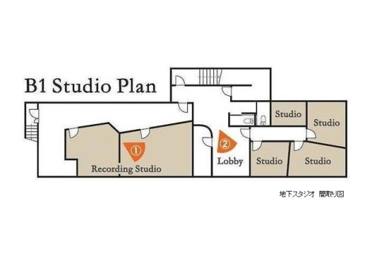 地下スタジオのレイアウトです。