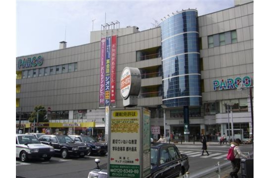 駅前のパルコ(大手100円ショップあり)