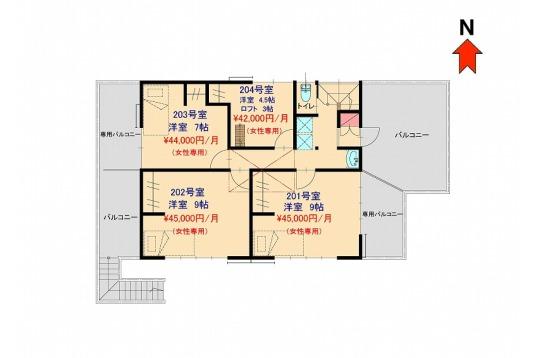 四番館2階の平面図