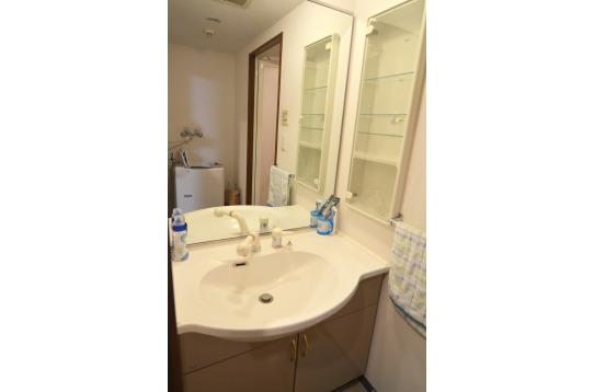 大きな鏡付きの洗面台