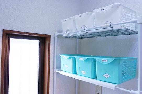 脱衣所の収納も個人ごとにあり便利