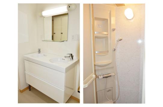 洗面台、シャワー室は清潔感が溢れています。