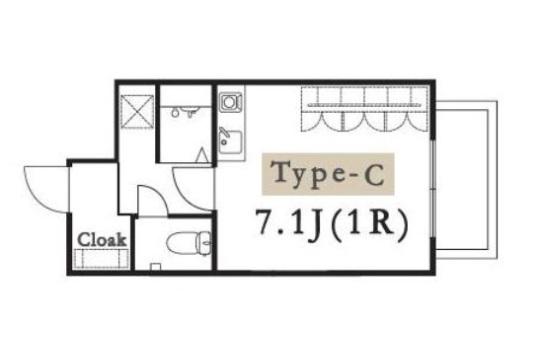 専有居室部分の間取り例です。水回りが各室完備。