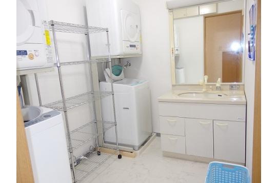 洗面所には、洗濯機2台・乾燥機2台あります。