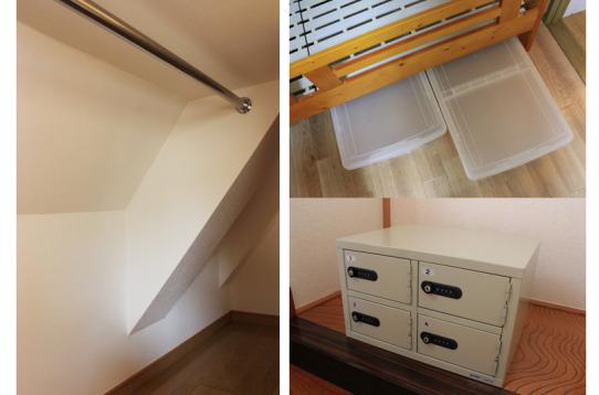 物干し竿、ベッド下の収納もしっかり確保