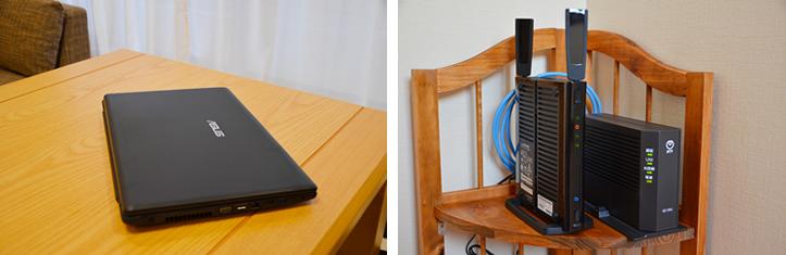 パソコンと無線LAN機器